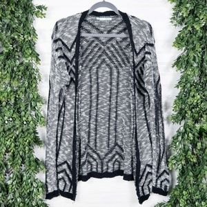 Maurices Tribal Aztec Gray and Black Knit Cardigan